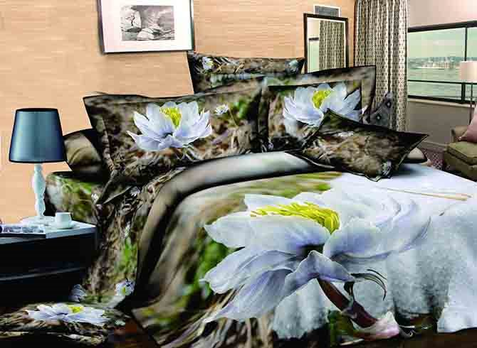 White Flowers Print High Quality Cotton 4-Piece Duvet Cover Sets