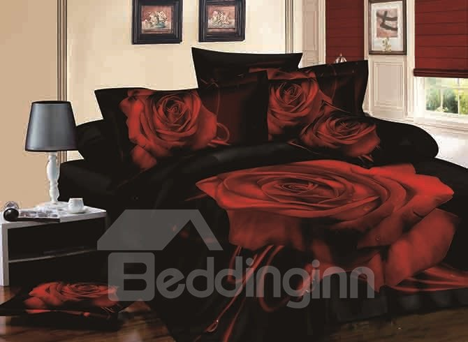 3D Red Blooming Rose Print Black 4-Piece Cotton Duvet Cover Sets beddinginn