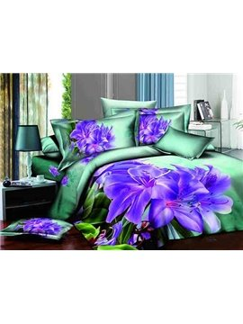 Purple Lily 3D Printed Green 4-Piece Cotton Duvet Cover Sets