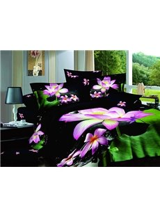 Gorgeous Graceful Lotus Pound Print 4-Piece Cotton Duvet Cover Sets