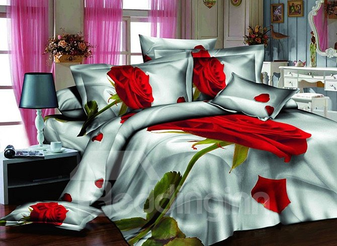 Luxury One Red Rose Print European Style 4-Piece Duvet Cover Sets beddinginn