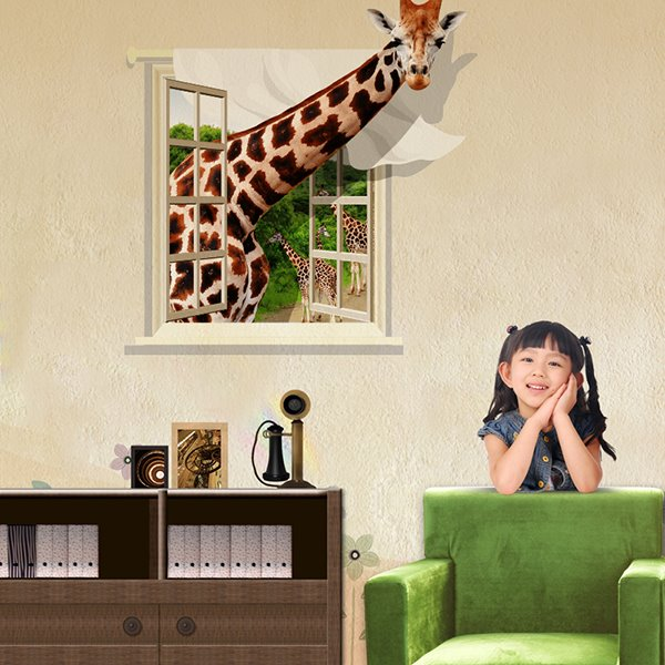 Cute Giraffe Through Window Removable 3D Wall Sticker