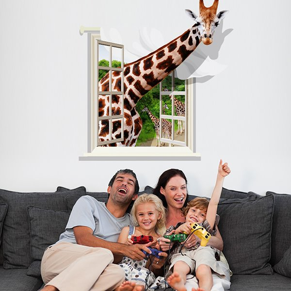 Cute giraffe through window removable 3d wall sticker - Stickers muraux cdiscount ...