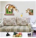 Funny Two Giraffes Trying Drinking Juice Removable 3D Wall Sticker