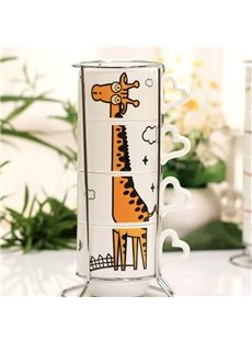 Cute Cartoon Giraffe Pattern Ceramics 4-Piece Mug Sets