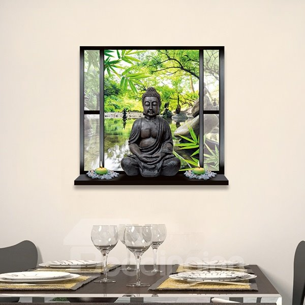 Religious Buddha on Window Sill Removable 3D Wall Sticker