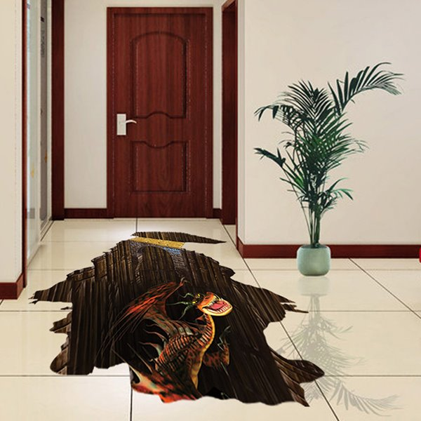 Amazing Fierce Dinosaur Floor Decoration Removable 3D Wall Sticker