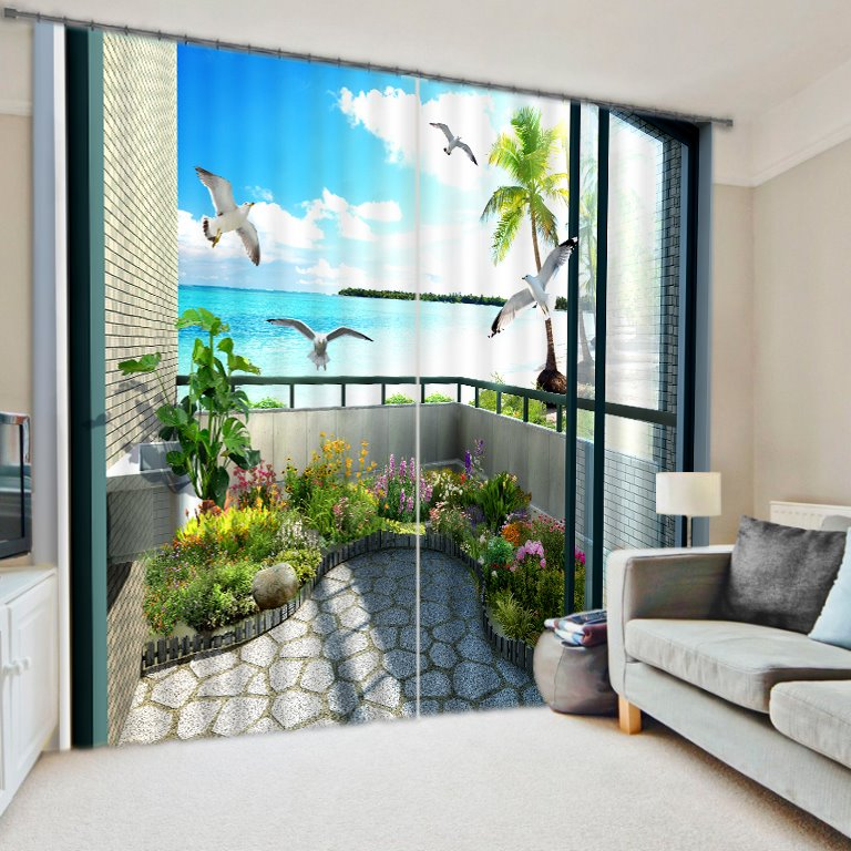 Scenery Of The Balcony Energy Saving 3d Curtain