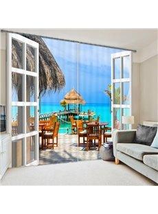 Beautiful Beach Villa Print 3D Curtain