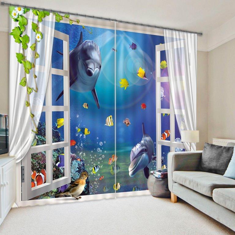 Amazing Underwater World Printing 3D Curtain