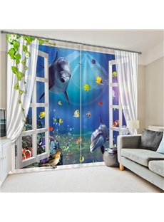 Amazing Underwater World Printing 3D Curtain