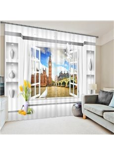 3D Window Scenery Polyester Two-piece Curtain
