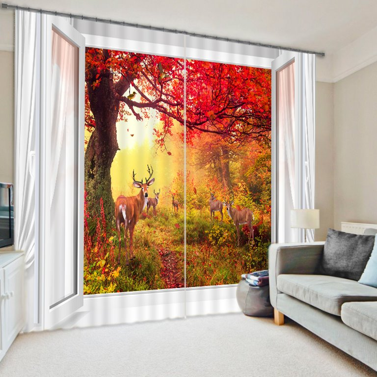 Wonderful Nature Scenery Red Tree out of the Window Printing Vibrant Color 3D Curtain beddinginn