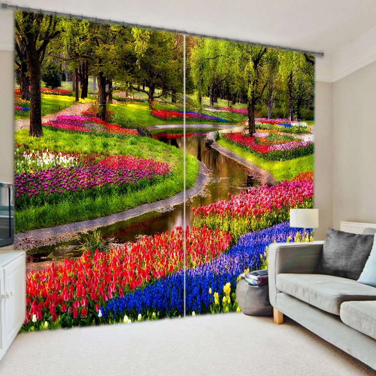 Colorful Flowers in Park Printing 3D Curtain