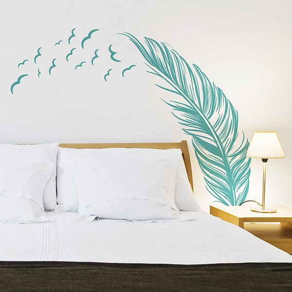 Creative Feather Pattern Bedroom TV Background Removable Wall Sticker
