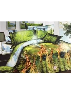 Giraffes in Forest Reactive Printing 4-Piece Polyester Duvet Cover Sets