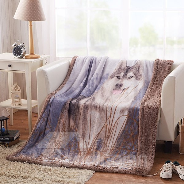 Wolf in Grass Print High Quality Flannel Blanket