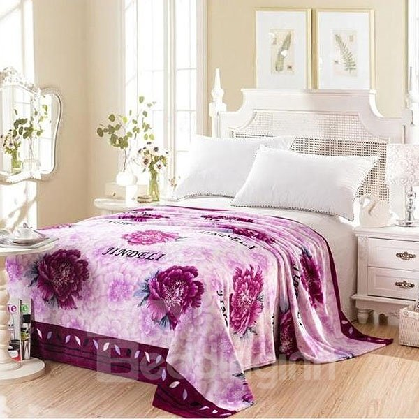Noble Graceful Purple Peony Print Flannel Blanket