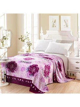 Noble Graceful Purple Peony Print Flannel Blanket