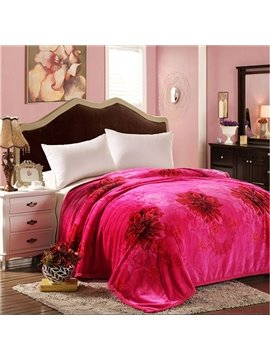 Rosy Flowers Printing Smooth & Soft Coral Fleece Blanket
