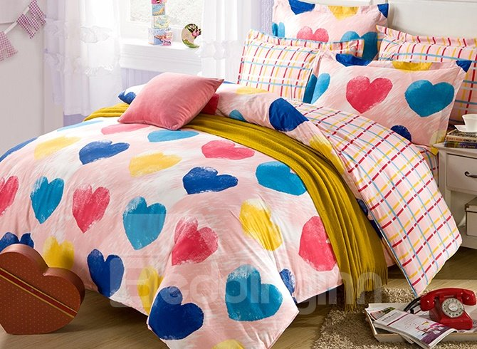 Chic Colorful Heart Shape Pattern Kids Duvet Cover Set