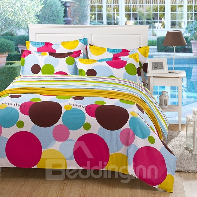 Lovely Colorful Polka Dots Kids 4-Piece Duvet Cover Set