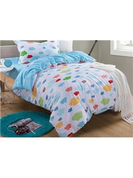 Colorful Clouds Pattern Kids Cotton Duvet Cover Set