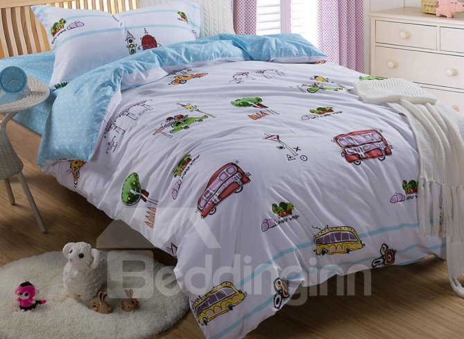 Lovely Bus Pattern Kids Organic Cotton Duvet Cover Set