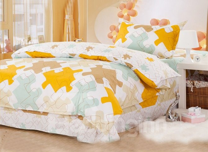 Trendy Puzzle Pattern Kids Cotton Duvet Cover Set