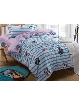 Stripes Pattern Ocean Theme Kids3-Piece Duvet Cover Set