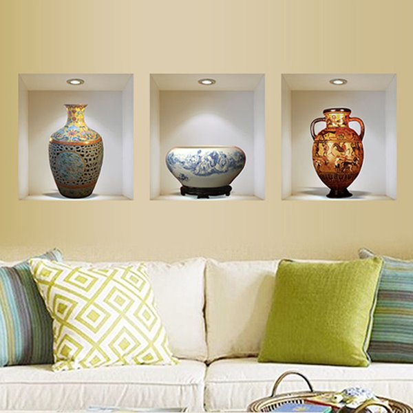 exquisite fine china vase 3 panel removable 3d wall