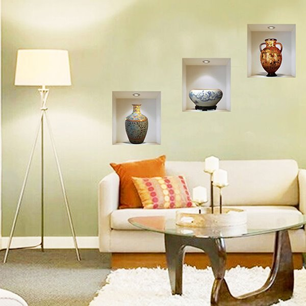 Exquisite Fine China Vase 3-Panel Removable 3D Wall Sticker