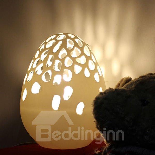 Creative Dinosaur Egg Design Hollow Cut Ceramic Nursery Table Lamp