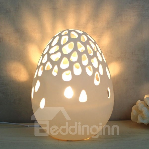 Creative Dinosaur Egg Design Hollow Cut Ceramic Nursery Table Lamp