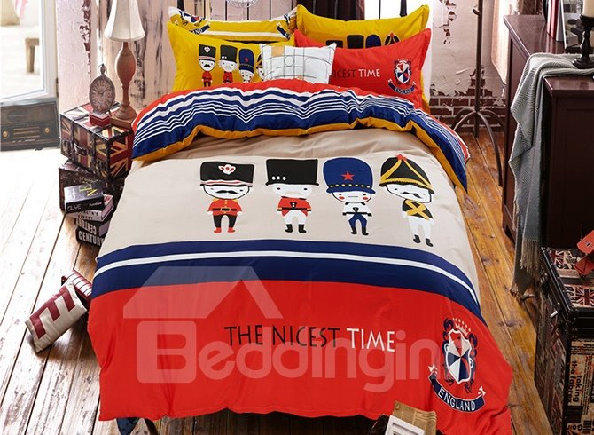 British Theme Lovely Persons Print Kids 4-Piece Duvet Cover Set