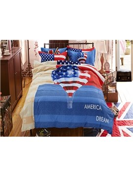 Fire Balloon Print America Dream Kids 4-Piece Duvet Cover Set