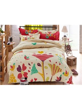 Colorful Holiday Theme Flowers and Birds Pattern Kids Duvet Cover Set