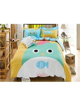 Super Cute Cat and Fish Print Kids Duvet Cover Set