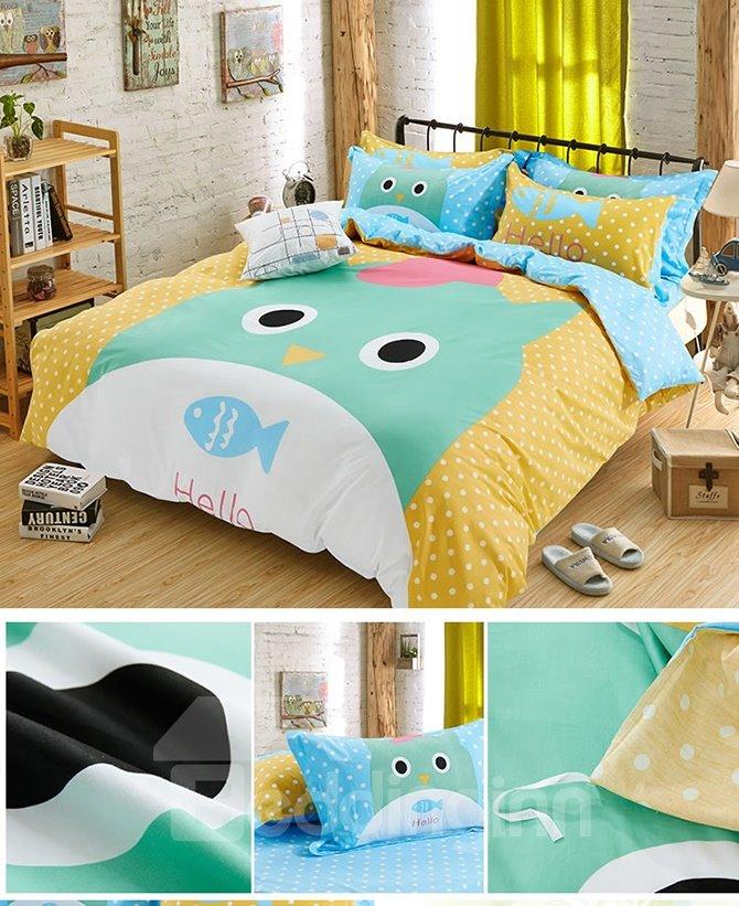 Super Cute Cat and Fish Print Kids Duvet Cover Set