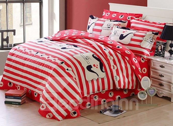 Vivid Red Stripes Pattern Soft Cotton Kids Duvet Cover Set