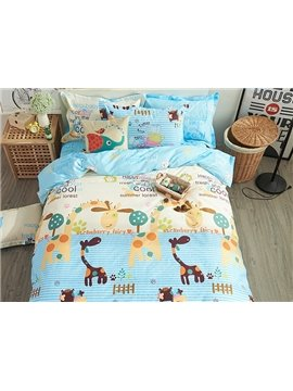 100% Cotton Giraffe Pattern Kids Duvet Cover Set
