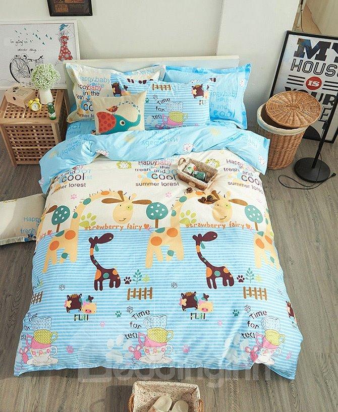 100% Cotton Giraffe Pattern Kids Duvet Cover Set