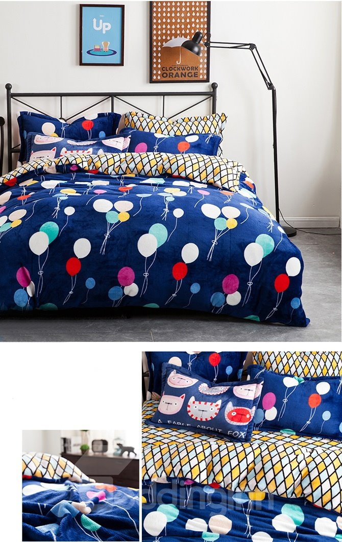 Cute Balloon and Plaid Pattern Kids Duvet Cover Set