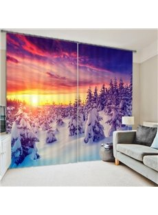 Beautiful Snowy Forest Sunset Scenery Printing 3D Curtain