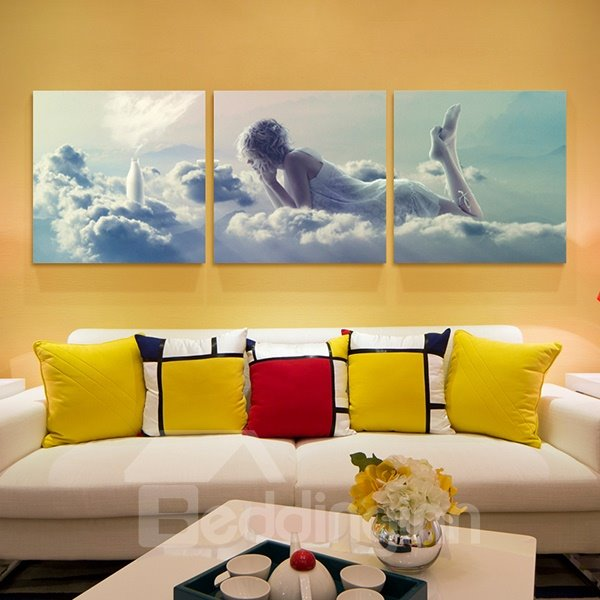 Romantic Young Women In Lingerie Lying On Clouds 3 Panel
