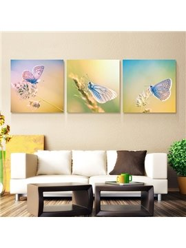 Gorgeous Butterfly on Flowers 3-Panel Wall Art Prints
