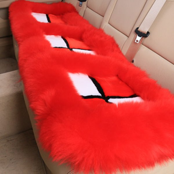Bright Plush Material Fluffy Cross Color Block Wool Cat Seat Mat Set