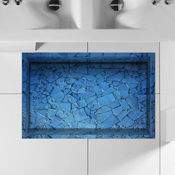 Creative Blue Broken Tile Lane Water-Proof Slipping-Preventing 3D Floor Sticker