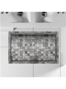 Grey and White Checnkered Slipping-Preventing Water-Proof Bathroom 3D Floor Sticker