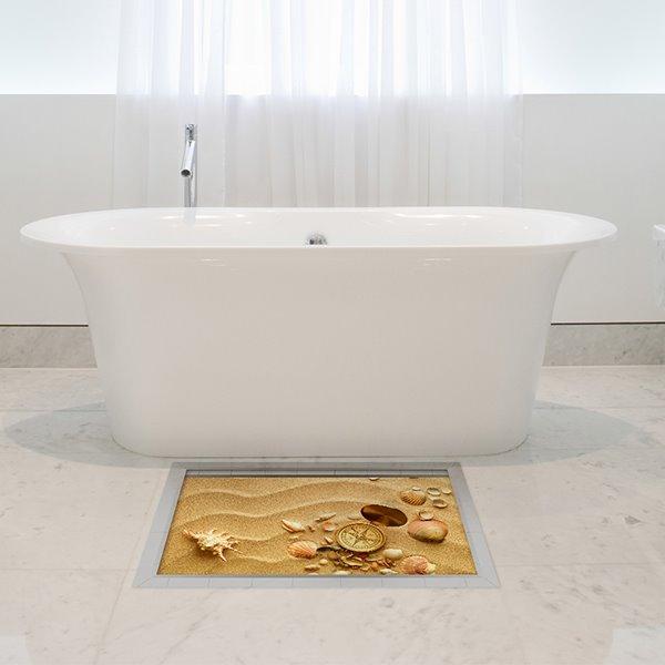 Wonderful Seashells in Desert Slipping-Preventing Water-Proof Bathroom 3D Floor Sticker